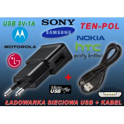 ŁADOWARKA 230V USB=1A+PRZEWÓD MIKRO-USB BLACK-BERY