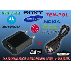 ŁADOWARKA USB 1A BLACKBERRY+PRZEWÓD MIKRO-USB 1,8m