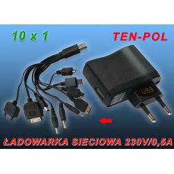 ŁADOWARKA SIECIOWA 230V USB=5V/500mA+PRZEWODY x 10
