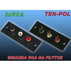 GNIAZDA RCA NA PŁYTCE 3 x RCA CINCH