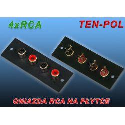 GNIAZDA RCA NA PŁYTCE 4 x RCA CINCH