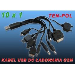 PRZEWODY DO ŁADOWAREK x10 - RÓŻNYCH TYPÓW USB-A