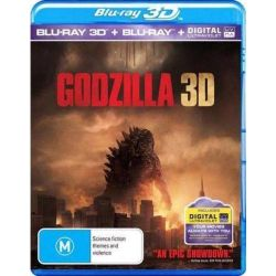 Godzilla 2014 (3D Blu-ray / Blu-ray) on DVD.