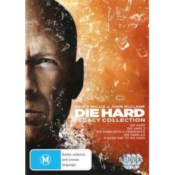 Die Hard Legacy Collection (Die Hard / Die Hard 2 / Die Hard with a Vengeance / Die Hard 4.0 / A Good Day to Die Hard) on DVD.