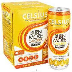 Celsius Sparkling Orange 4 x 12 oz 355ml Cans