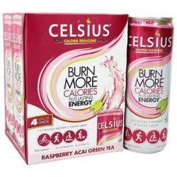 Celsius Raspberry Acai Green Tea 4 x 12 oz 355ml Cans
