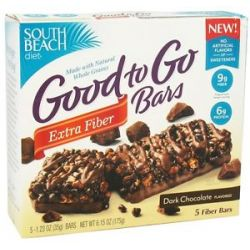 South Beach Diet Good to Go Cereal Bars Extra Fiber Dark Chocolate 5 Bars