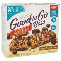 South Beach Diet Good to Go Cereal Bars Extra Fiber Fudge Graham 5 Bars
