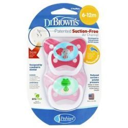 Dr Brown's Prevent Orthodontic Pacifiers Butterfly 6 12M 2 Pack