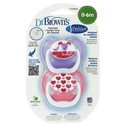 Dr Brown's Prevent Orthodontic Pacifiers Unique 0 6M 2 Pack