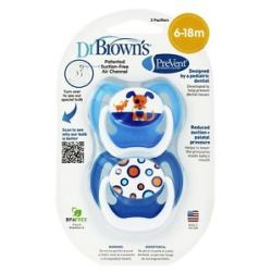 Dr Brown's Prevent Orthodontic Pacifiers Unique 6 12M 2 Pack