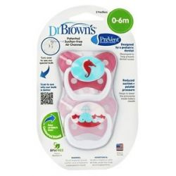 Dr Brown's Prevent Orthodontic Pacifiers Butterfly 0 6M 2 Pack