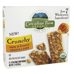 Cascadian Farm Organic Granola Bars Crunchy Oats Honey 10 Bars