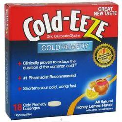 Cold Eeze Zinc Gluconate Glycine Cold Remedy All Natural Honey Lemon 18