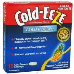 Cold Eeze Zinc Gluconate Glycine Cold Remedy All Natural Tropical Orange 18