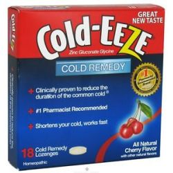 Cold Eeze Zinc Gluconate Glycine Cold Remedy All Natural Cherry 18 Lozenges