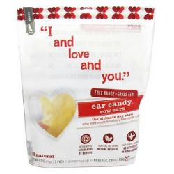 I and Love and You Ear Candy Cow Ears Dog Chews 5 Pack