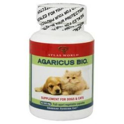 Atlas World Agaricus Bio Supplement for Cats Dogs 300 MG 60 Capsules