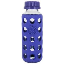 Lifefactory Glass Beverage Bottle with Silicone Sleeve Royal Purple 9 Oz