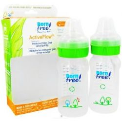 Bornfree Active Flow Eco Deco Baby Bottle BPA Free Twin Pack CLEARANCE