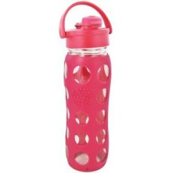 Lifefactory Glass Beverage Bottle with Silicone Sleeve and Flip Top Cap