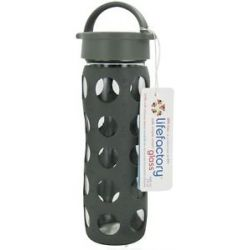 Lifefactory Glass Beverage Bottle with Silicone Sleeve Graphite 16 Oz