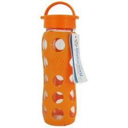 Lifefactory Glass Beverage Bottle with Silicone Sleeve Orange 22 Oz