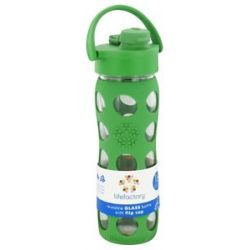 Lifefactory Glass Beverage Bottle with Silicone Sleeve and Flip Top Cap Grass