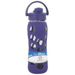 Lifefactory Glass Beverage Bottle with Silicone Sleeve and Flip Top Cap Royal