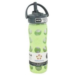 Lifefactory Glass Beverage Bottle with Silicone Sleeve and Straw Cap Spring