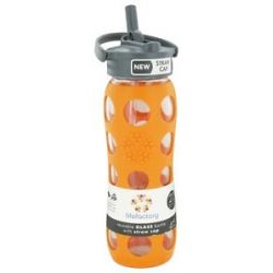 Lifefactory Glass Beverage Bottle with Silicone Sleeve and Straw Cap Orange