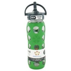 Lifefactory Glass Beverage Bottle with Silicone Sleeve and Straw Cap Grass