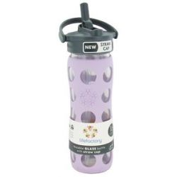 Lifefactory Glass Beverage Bottle with Silicone Sleeve and Straw Cap Lilac
