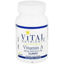 Vital Nutrients Vitamin A from Fish Liver Oil 25000 IU 100 Softgels