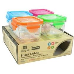 Wean Green Glass Snack Cubes Garden Pack 4 Cubes