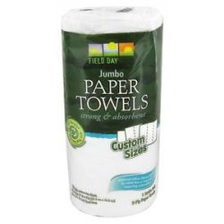Field Day Paper Towels 100 Recycled 2 Ply 120 Custom Size Sheets 1 Jumbo