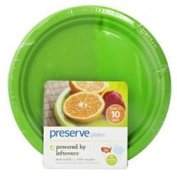 Preserve Reusable Recycled Plastic Plates Small 7 inch Apple Green 10 Piece