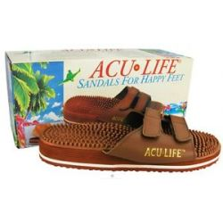 ACU Life Massage Sandals with Velcro M7 W8 Brown 1 Pair
