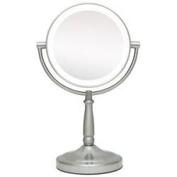 Zadro LED Lighted 10x Vanity Mirror LEDMV410 Satin Nickel