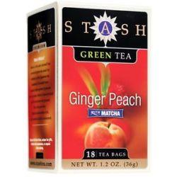 Stash Tea Premium Ginger Peach Green Tea with Matcha 18 Tea Bags