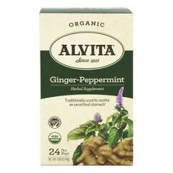 Alvita Organic Ginger Peppermint Tea Caffeine Free 24 Tea Bags