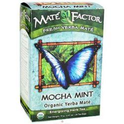 Mate Factor Organic Yerba Mate Energizing Herb Tea Mocha Mint 20 Tea Bags