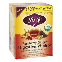Yogi Tea Organic Digestive Vitality Tea Raspberry Ginger 16 Tea Bags