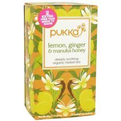 Pukka Herbs Organic Herbal Tea Lemon Ginger Manuka Honey 20 Tea Bags