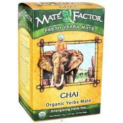 Mate Factor Organic Yerba Mate Energizing Herb Tea Chai 20 Tea Bags