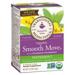Traditional Medicinals Smooth Move Herbal Tea Stimulant Laxative Caffeine Free