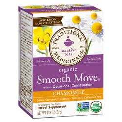 Traditional Medicinals Organic Smooth Move Herbal Tea with Chamomile Caffeine