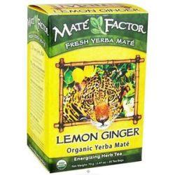 Mate Factor Organic Yerba Mate Energizing Herb Tea Lemon Ginger 20 Tea Bags