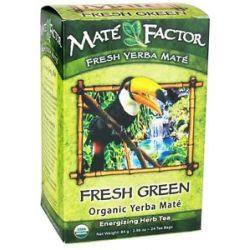 Mate Factor Organic Yerba Mate Energizing Herb Tea Fresh Green 24 Tea Bags