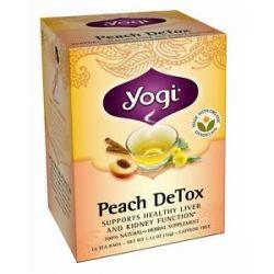 Yogi Tea Peach Detox Organic Cleansing Tonic Tea Caffeine Free 16 Tea Bags